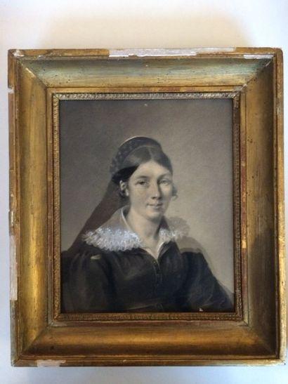 École Française du XIXe siècle Un homme (Camille Plan Massi, 1798?) et une femme...