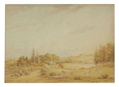 Pieter VAN OS (La Hague 1776 - 1839) Une paire de pastorales animées Aquarelle 19...
