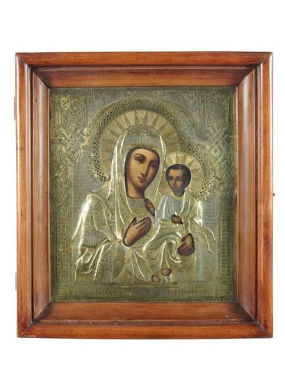 La Vierge de Smolensk Huile sur panneau avec...