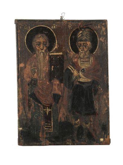 Icône ornée de Saint Minas et d'un saint...