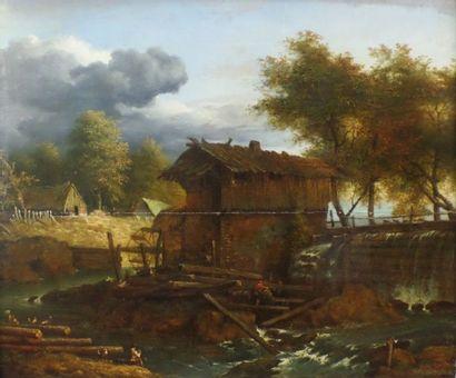 Ecole HOLLANDAISE vers 1800, suiveur d'Allaert Van EVERDINGEN Paysage au moulin en...