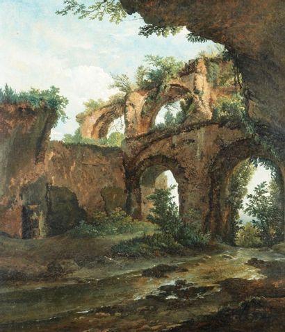 Simon DENIS (Anvers 1755 – Naples 1813) Intérieur de la Villa Mecene à Tivoli Papier...