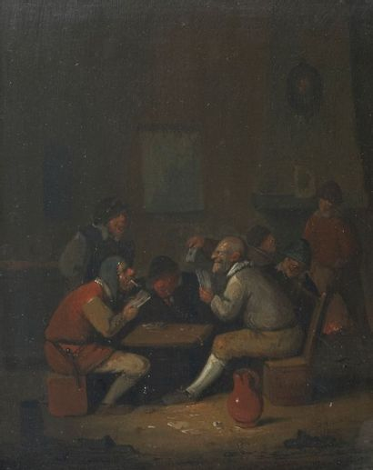 Egbert van HEEMSKERCK (Haarlem 1634 – Londres 1704) Les Joueurs de cartes Panneau...