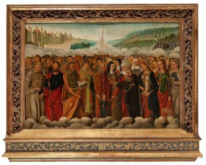 Ecole ALLEMANDE du XIXème siècle La Sainte Famille entre saints et saintes Panneau,...