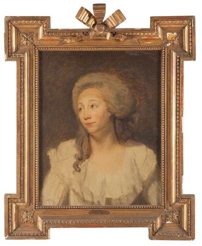 École anglaise du XVIIIème siècle Portrait de femme à la Robe blanche Toile 61 x...