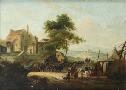 Michel Hamon DUPLESSIS (c.1791-1799) Paysage de rivière près d'une ferme fortifiée...