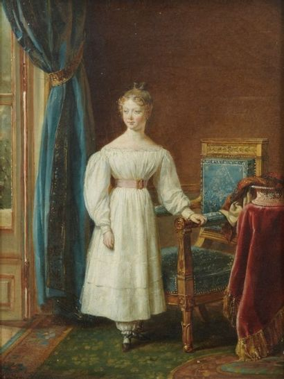Attribué à George ROUGET (1784 - 1869) Portrait de jeune fille dans l'embrasure d'une...