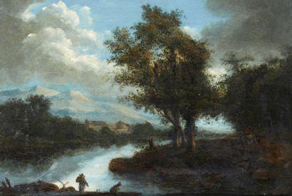LAZARE BRUANDET (1755 - 1804) Paysage de rivière avec pêcheurs Toile d'origine 21,5...
