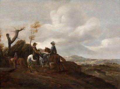Ecole HOLLANDAISE vers 1800, suiveur de Philips WOUWERMAN Halte des cavaliers Panneau...