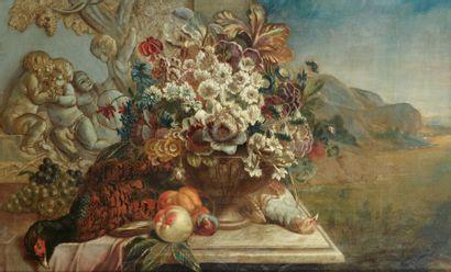 Ecole FRANCAISE vers 1900, dans le gout de Jean Baptiste MONNOYER Urnes de fleurs...
