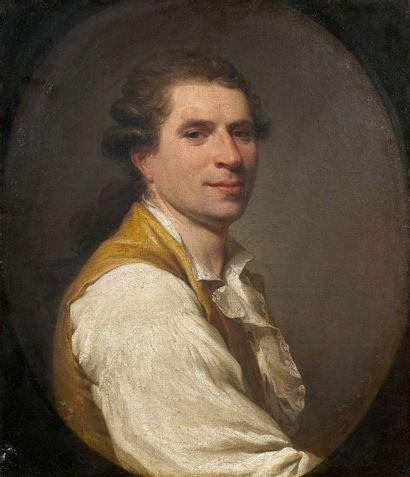 Ecole Francaise vers 1780 Portrait d?homme au gilet jaune Toile à vue ovale 58 x...