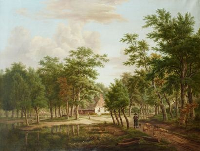 HANSON (Actif au XIXème siècle) La Chaumière dans la Forêt Toile 83 x 108 cm Trace...
