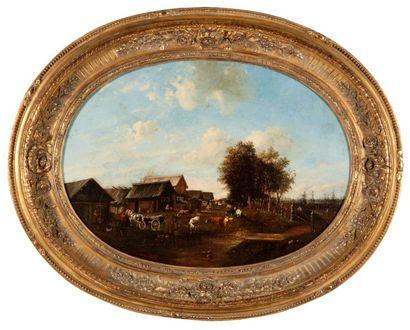 Auguste MORREN (Actif au XIXème siècle) La Ferme Toile ovale 49 x 67 cm Signé et...