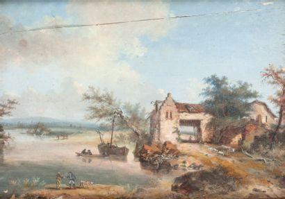 Ecole ANGLAISE du XIXème siècle Maison au bord d?une rivière Gouache 31 x 40,5 cm...