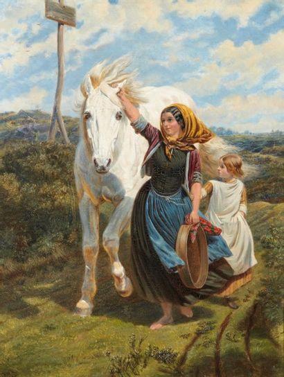 Ecole Hollandaise du XIXème siècle Jeune paysanne tenant un cheval par l?oreille...