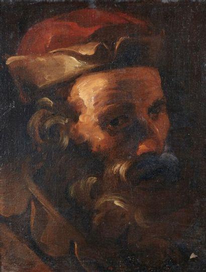 Ecole Italienne du XIXème siècle Figure d?homme barbu Toile 48 x 38,5 cm