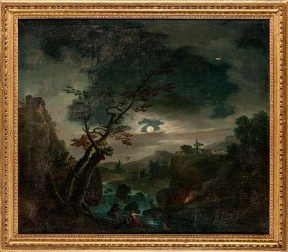 Jean François HUE (Saint-Arnoult-en-Yvelines 1751 - Paris 1823) Pêcheurs au clair...