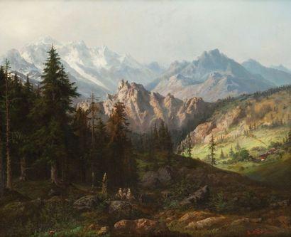 Benjamin NETTER (Strasbourg 1811 - Paris 1881) Paysage de montagnes Toile 100 x 121...