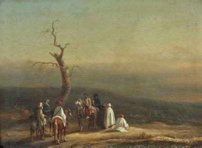 Noël Dieudonné FINART (Condé 1797 - 1852) La Halte des cavaliers arabes Toile 27...