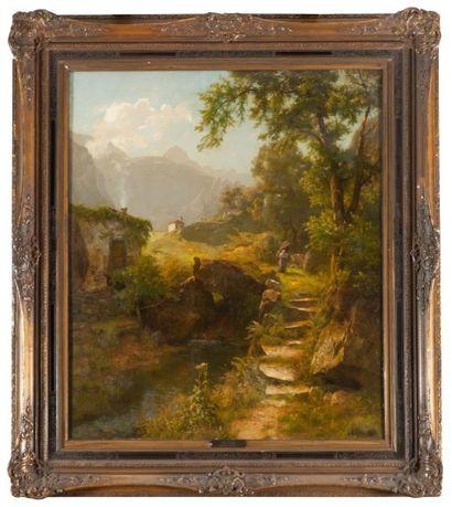 Auguste LEU (Düsseldorf 1818 - 1897) Femme au fagot dans un paysage de montagnes...