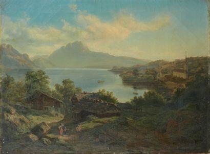Xaver SCHWEGLER (Lucerne 1832 - 1902) Vues des Quatre-Cantons Paire de toiles, sur...