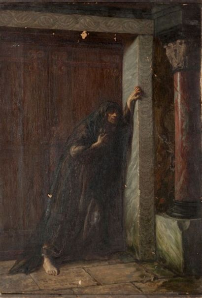 Gaston MELINGUE (Paris 1840 - 1914) Femme pleurant devant une porte Sur sa toile...