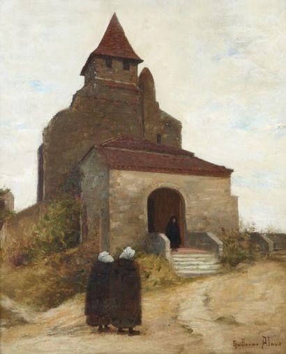 Guillaume ALAUX (Bordeaux 1856 - 1902) Bretonnes allant à l?Eglise Sur sa toile d?origine...