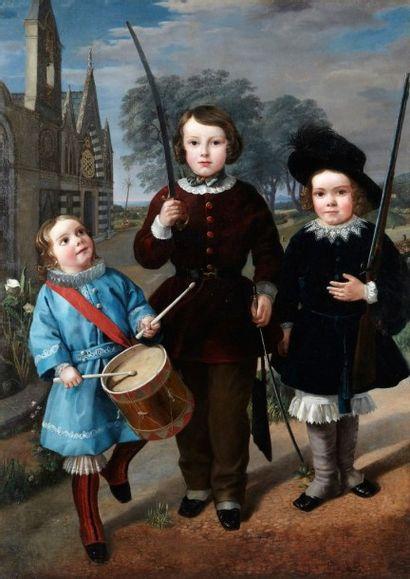 Ecole Allemande vers 1840 Enfants musiciens et soldats Toile 147 x 104,5 cm Porte...