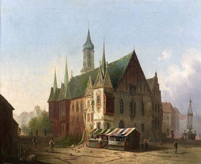 Carl Josef Alois BOURDET (Prague 1851 – Brünswick 1928) Vue de l?hotel de ville de...