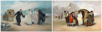 Antonio PEREZ-RUBIO (Navalcarnero 1822 – Madrid 1888) La Descente du carrosse La...