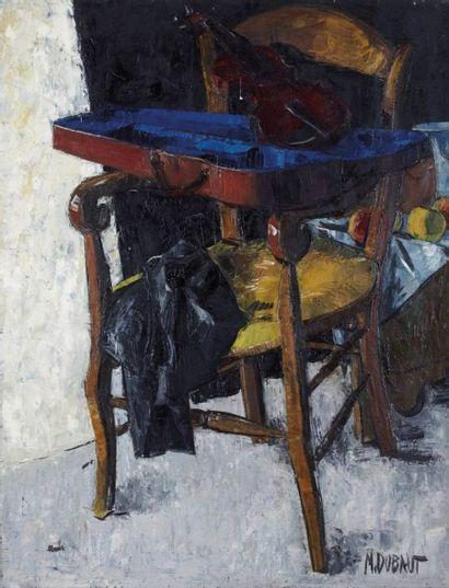 Maxime DUBAUT (Paris 1920 - 1991) Composition à la chaise et au violon Huile sur...