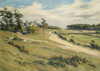André DAUCHEZ (Paris 1870 - 1948) Paysage Huile sur toile d'origine 65 x 91,5 cm...