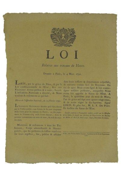 1791 - (SEINE MARITIME) - ? Loi relative aux TRAVAUX DU HAVRE? - donnée à Paris...