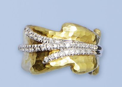 Belle bague en or jaune et or gris 18 K, 750 millièmes. Elle stylise un feuillage...