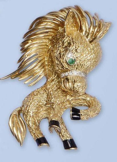 Ravissant clip en or jaune 750 millièmes,...