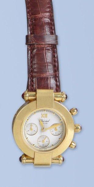Montre chronographe en or jaune 18 K, (750 millièmes), de marque CHOPARD, modèle...