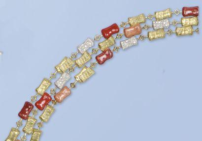 Ravissant bracelet en or jaune et or gris...