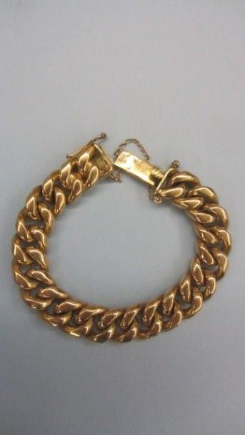 Bracelet souple en or jaune 18 K, 750 millièmes....