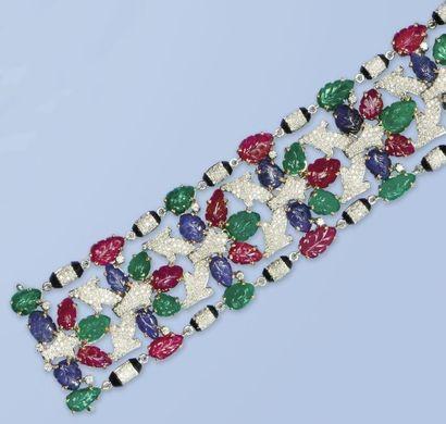 Magnifique bracelet souple en or gris et...
