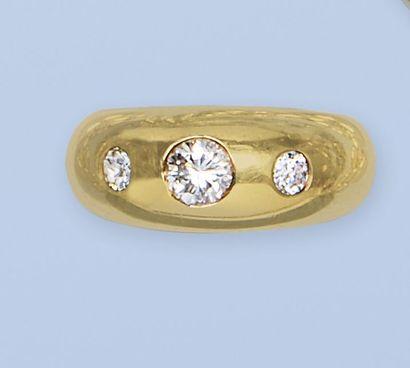 Bague jonc en or jaune 18 K, 750 millièmes,...