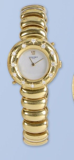 Bracelet montre pour dame en or jaune 18...