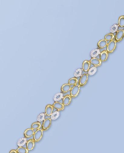 Bracelet en or jaune et or gris 18 K, 750...