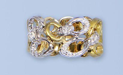 Bague en or et or gris 18K,750 millièmes....