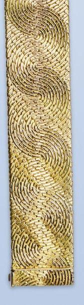 Beau bracelet en or jaune 18 K, 750 millièmes....