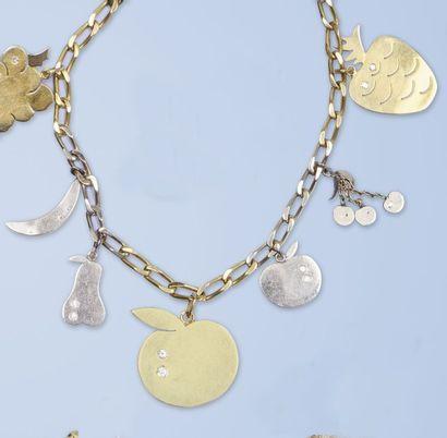 Lot composé d'un collier et d'un bracelet...