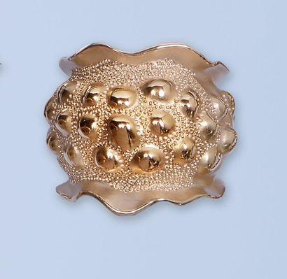 Bague en or rose 18 K, 750 millièmes, à surface...