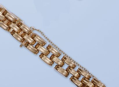 Bracelet souple en or rose 18 K, 750 millièmes,...