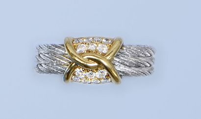 Bague en acier et or jaune 18 K, 750 millièmes,...