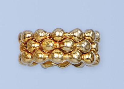 Ensemble de 3 bagues en or jaune (750 millièmes),...
