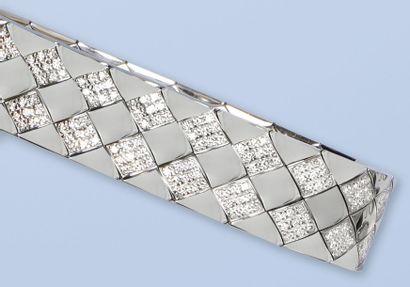 Bracelet en or gris 18 K, (750 millièmes),...
